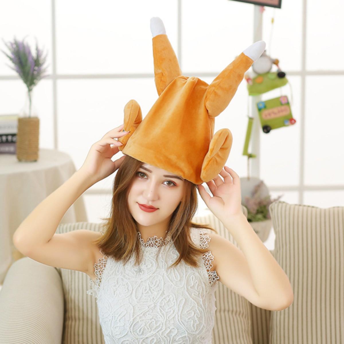 抖音同款会动的鸡腿帽子小龙女搞笑沙雕礼物会唱歌跳舞电动火鸡帽
