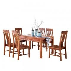 红木长方形餐桌刺猬紫檀非洲花梨木新中式餐台餐厅桌一桌六椅组合