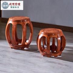 红木圆鼓凳 刺猬紫檀实木换鞋凳 花梨木中式鼓凳小圆凳古筝凳大古