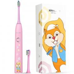 卡通静音防水充电长续航护齿儿童电动牙刷配两支刷头食用硅胶