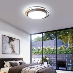 2019新款卧室灯圆形木式吸顶灯LED简约现代房间灯小客厅灯具
